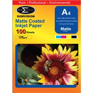 Sumvision Matt White Photo Inkjet Paper A4 128gsm (100 Pack)