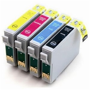Epson T0715 Compatible 4 Ink Cart Cartridge Set - Cheetah / Monkey / Rhinoceros