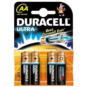 Duracell Ultra Batteries Size AA MN1500 LR6 1.5V Pack of 4