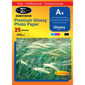 Sumvision Premium Glossy 200gm A4 Photo Paper 25 Pack