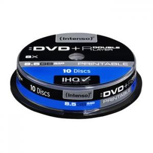 Intenso White Inkjet Printable 8x DVD+R 8.5GB Dual Layer Recordable Blank DVDs Discs - 10 Pack